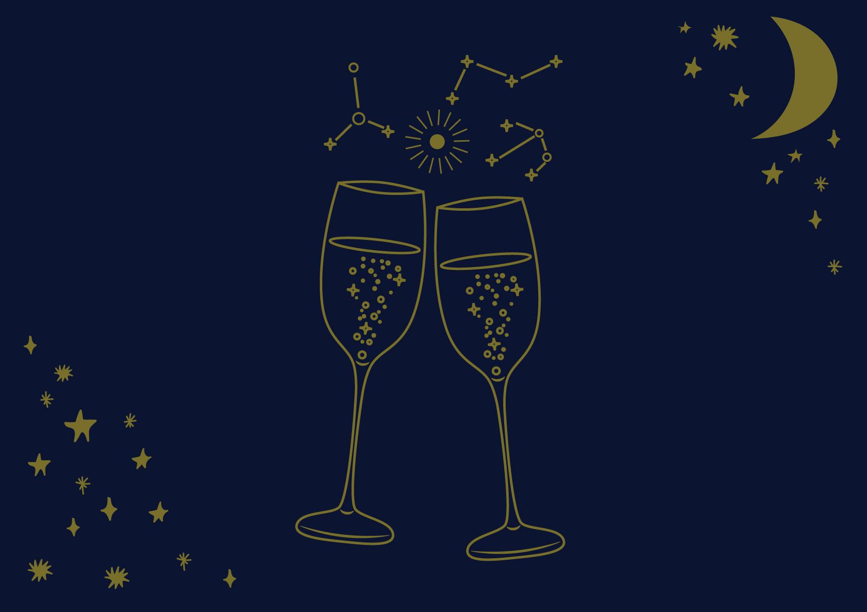 可愛いイラスト無料|星空 シャンパングラス カップル − free illustration Starry sky champagne glass