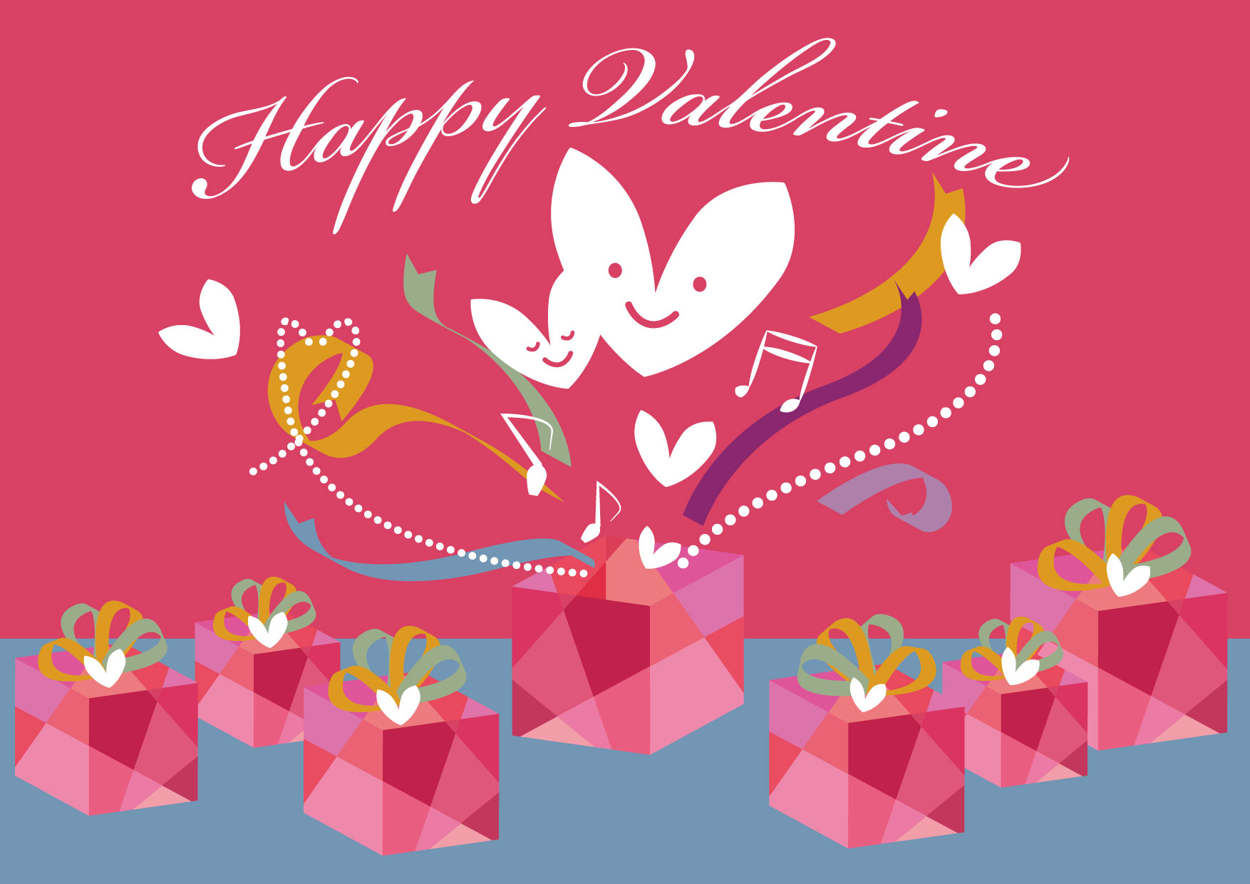 バレンタイン 背景 プレゼント リボン ハート イラスト 無料