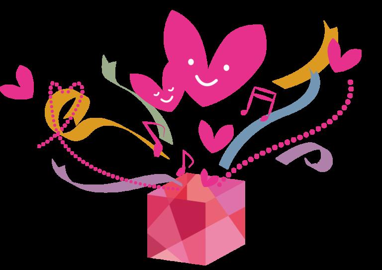 バレンタイン プレゼント リボン 音符 ハート イラスト 無料