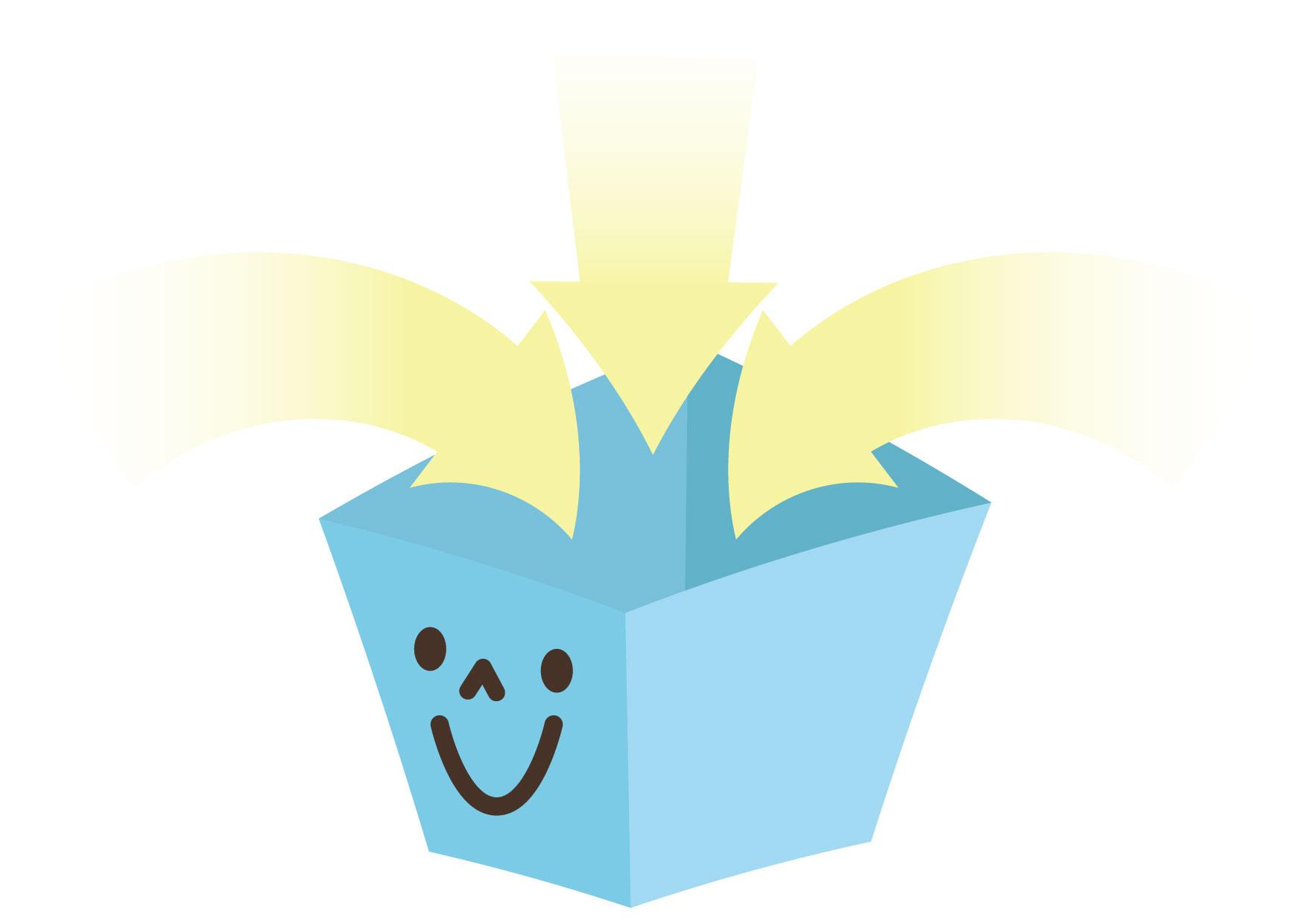 可愛いイラスト無料|箱 入る 矢印 青 − free illustration Box entering arrow blue