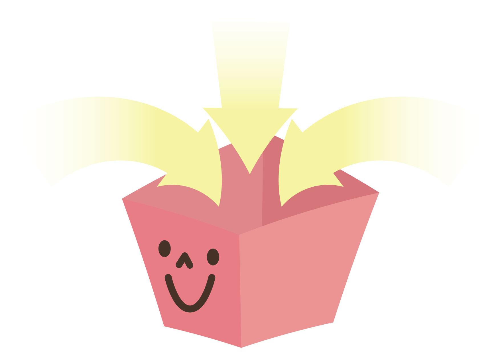 可愛いイラスト無料|箱 入る 矢印 ピンク − free illustration Box entering arrow pink