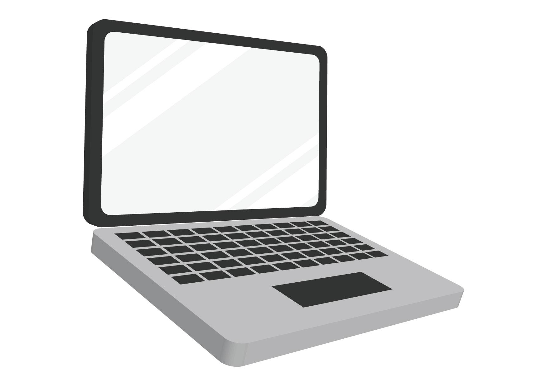 可愛いイラスト無料|ノートパソコン − free illustration laptop