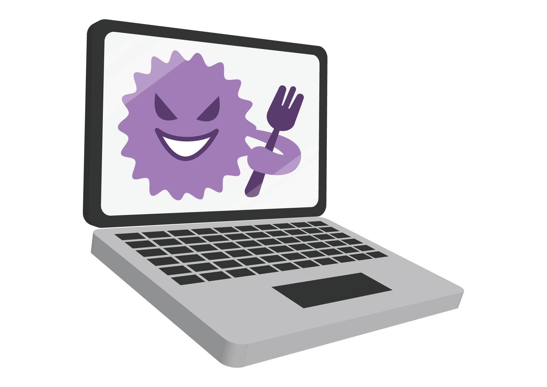 可愛いイラスト無料|ノートパソコン ウイルス − free illustration Laptop virus