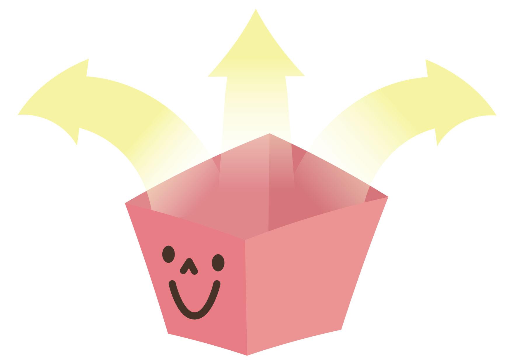 可愛いイラスト無料|箱 出る 矢印 ピンク − free illustration Box out arrow pink
