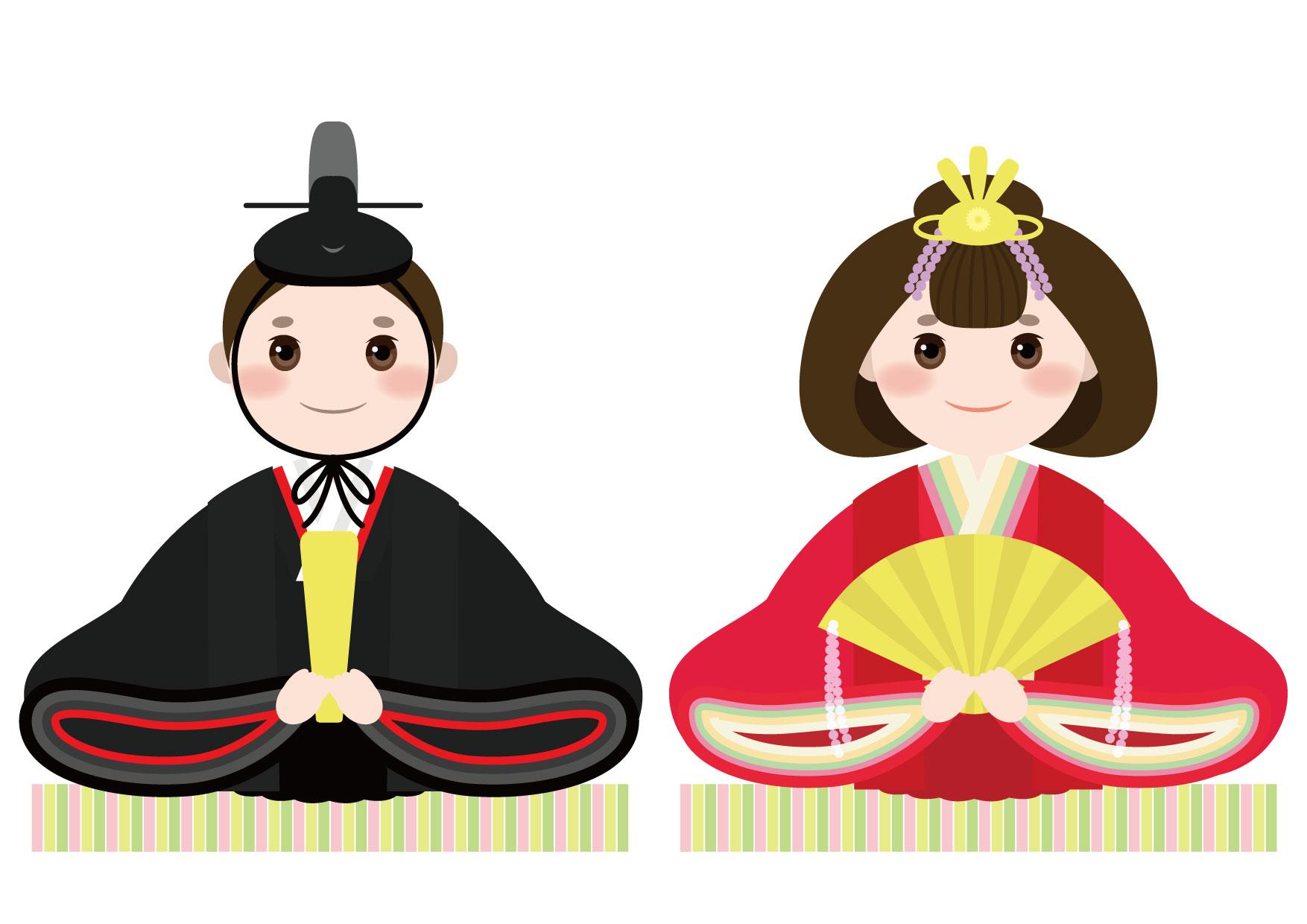 可愛いイラスト無料|お雛様 お内裏様 − free illustration Hinamatsuri Dolls