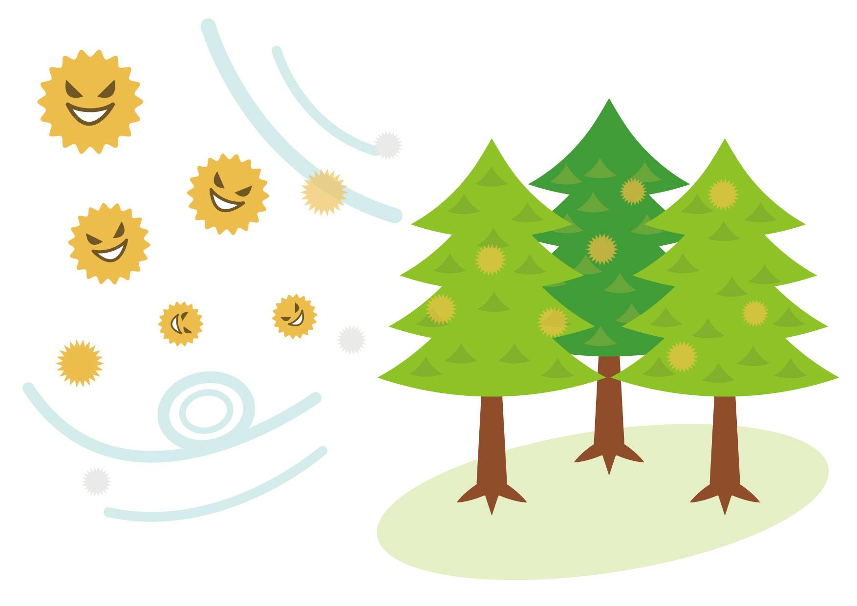 可愛いイラスト無料|杉 花粉 − free illustration Cedar Pollen