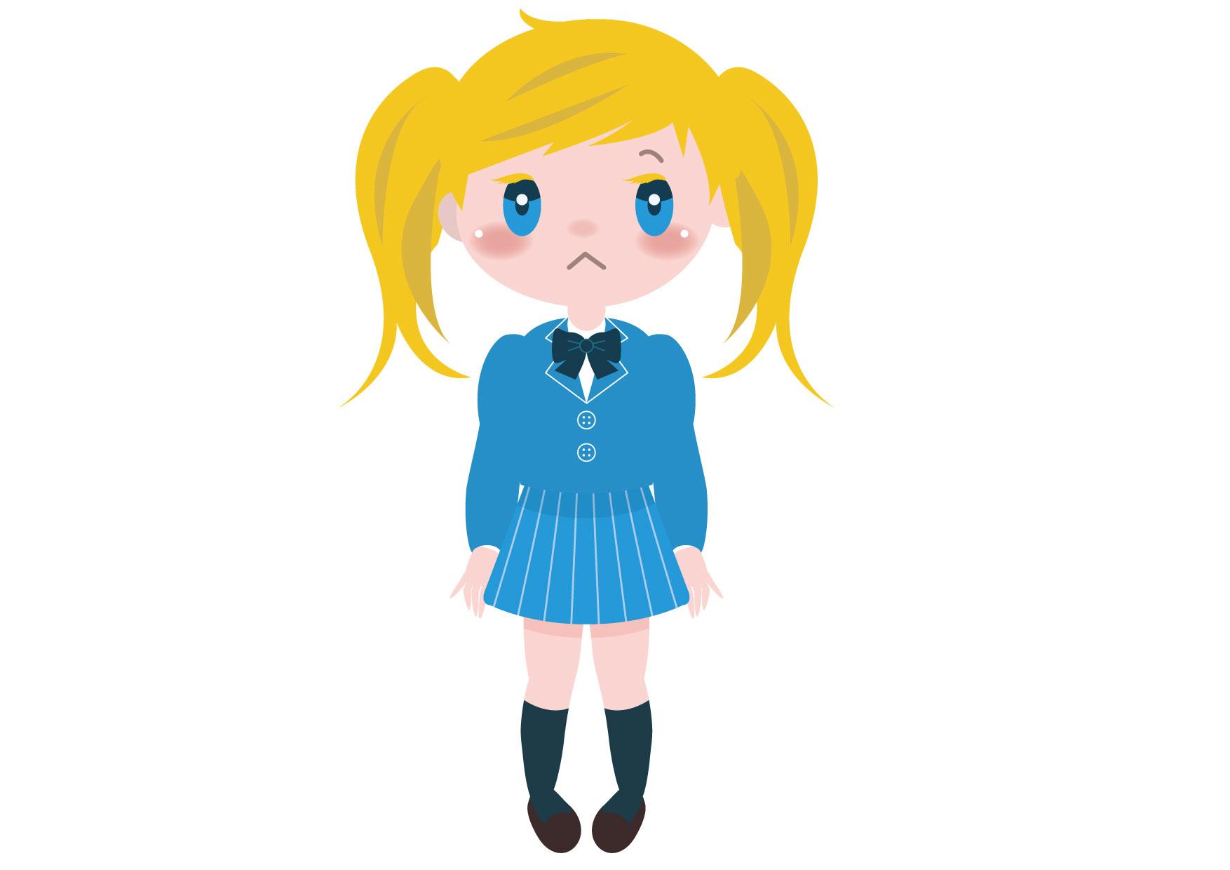 可愛いイラスト無料|学生 女の子 全身 外国人 − free illustration Student girl whole body