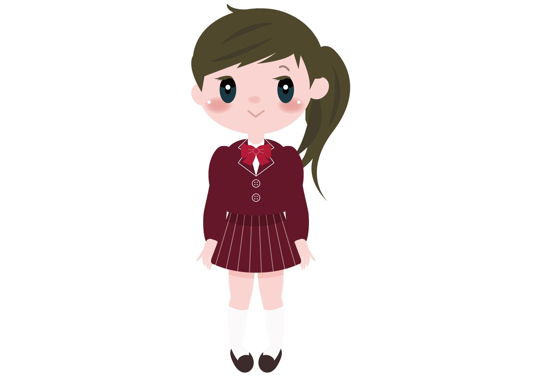 可愛いイラスト無料|学生 女の子 全身 − free illustration Student girl whole body