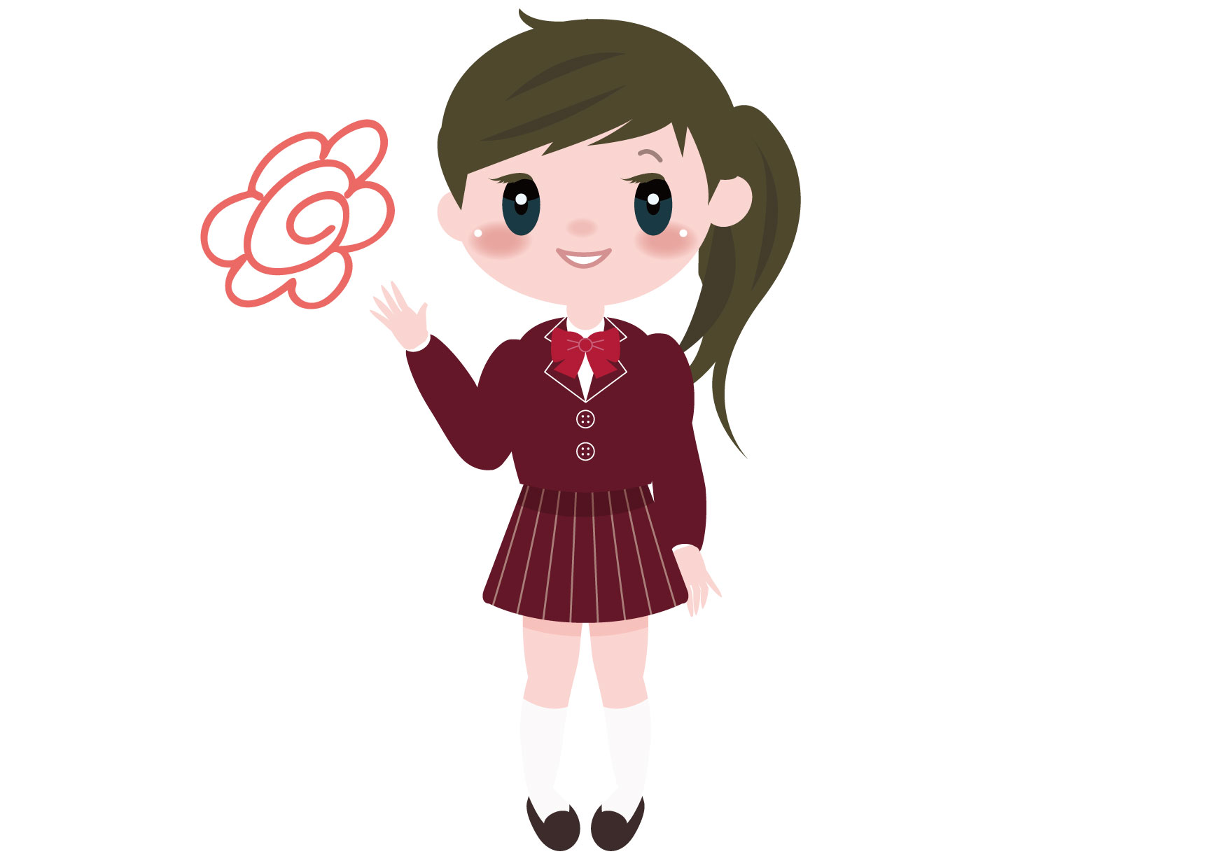可愛いイラスト無料|学生 女の子 全身 花丸 − free illustration Student girl whole body flower