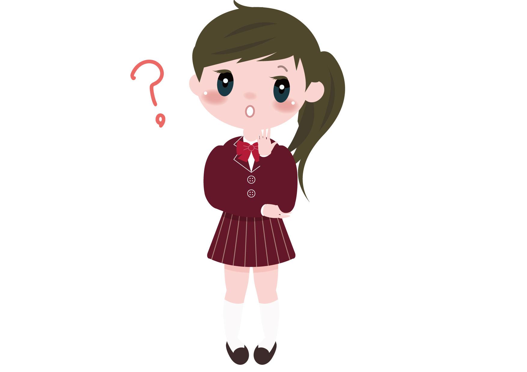 可愛いイラスト無料|学生 女の子 全身 考え事 − free illustration Student girl whole body thinking
