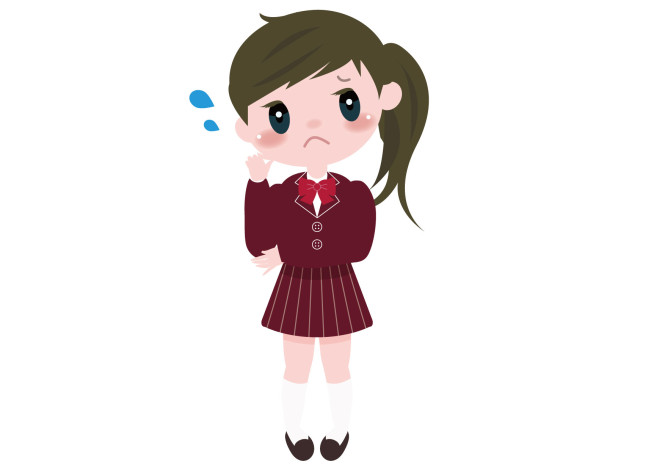 女の子 学生 悩む イラスト 無料