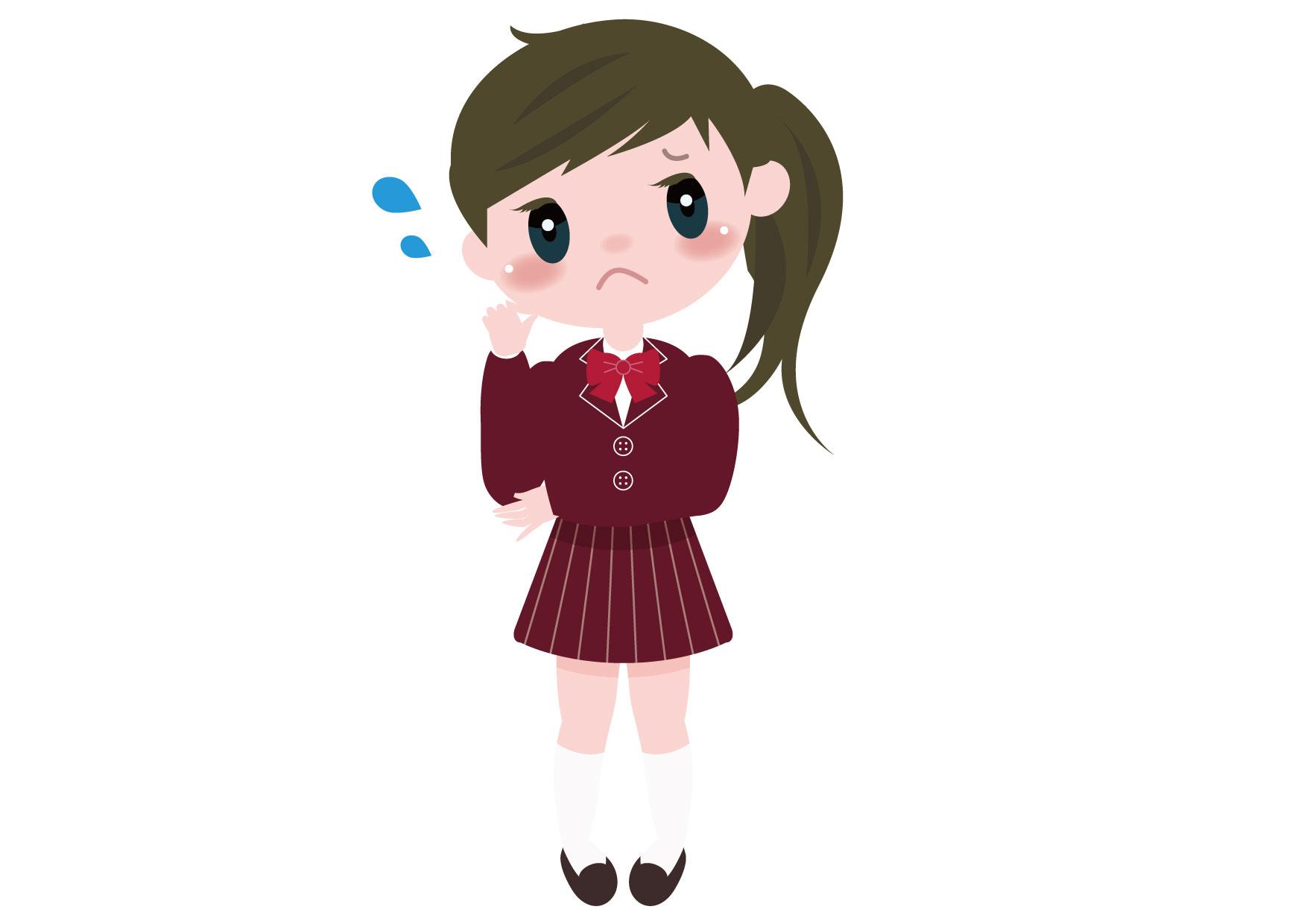可愛いイラスト無料|学生 女の子 全身 困る − free illustration Student girl Be bothered whole body