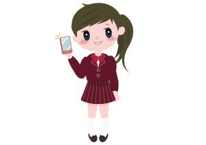 女の子 学生 携帯電話 イラスト 無料
