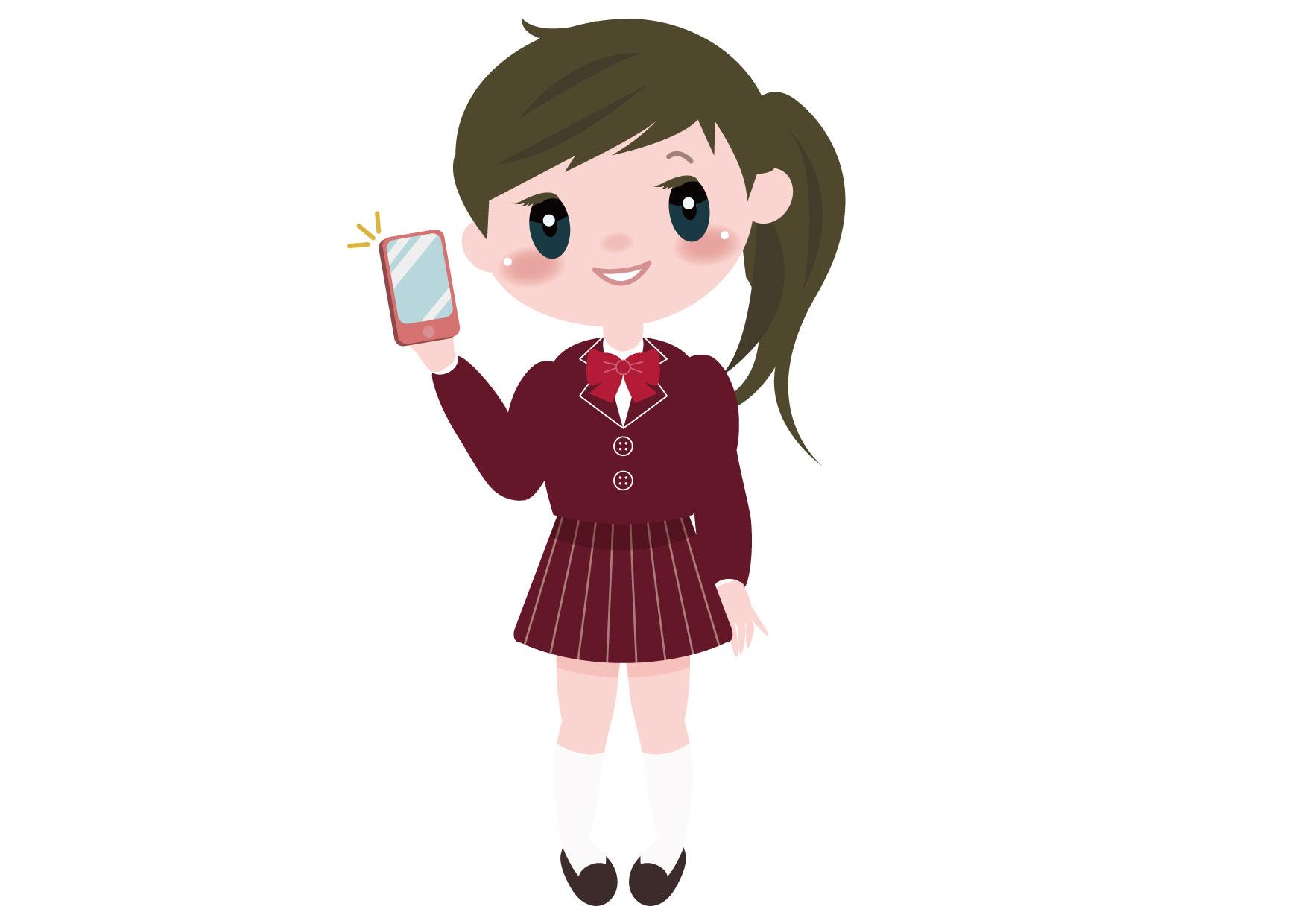 可愛いイラスト無料|学生 女の子 全身 スマートフォン − free illustration Student girl full body smartphone