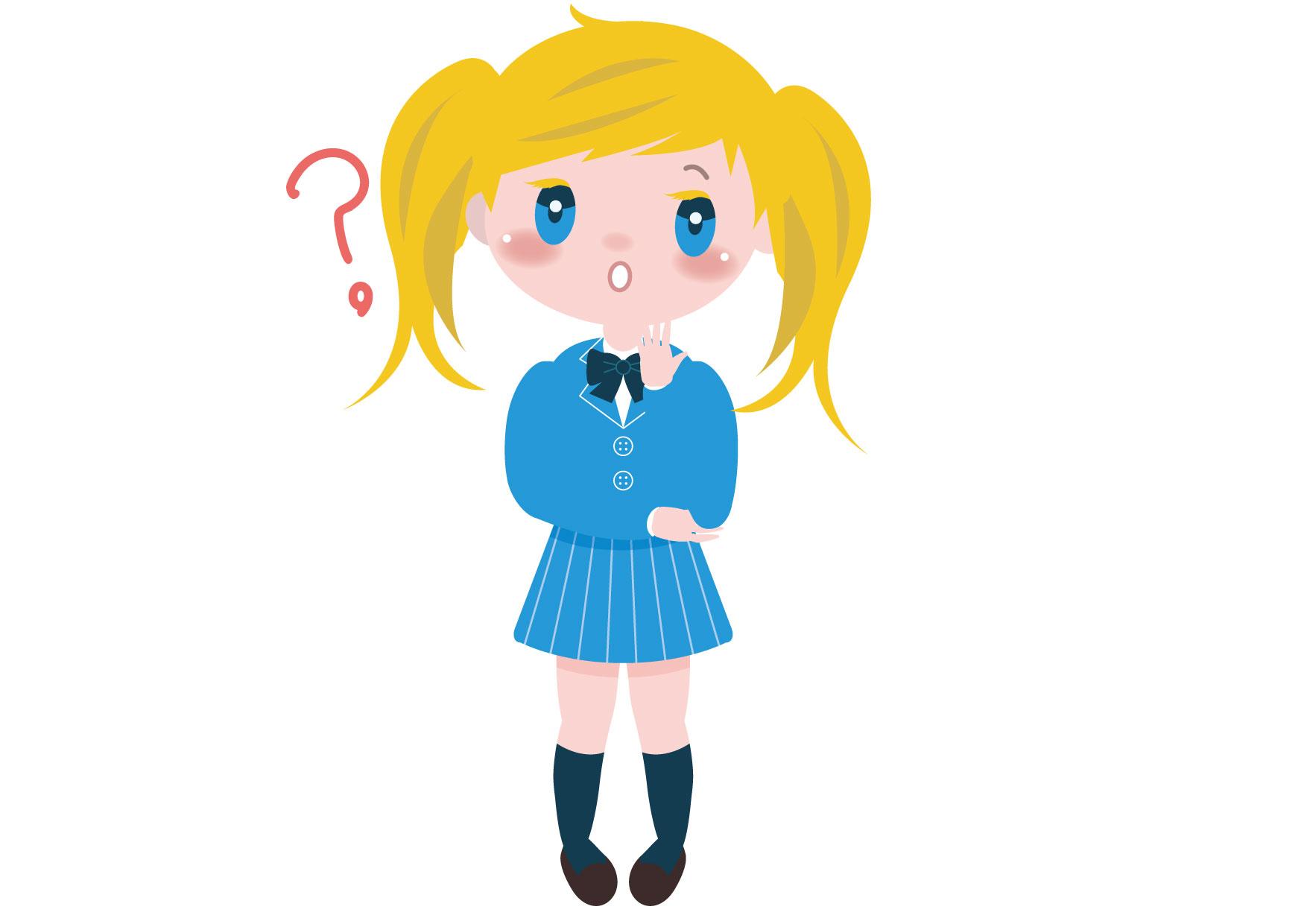 可愛いイラスト無料|学生 女の子 全身 外国人 考え事 − free illustration Student girl whole body thinking