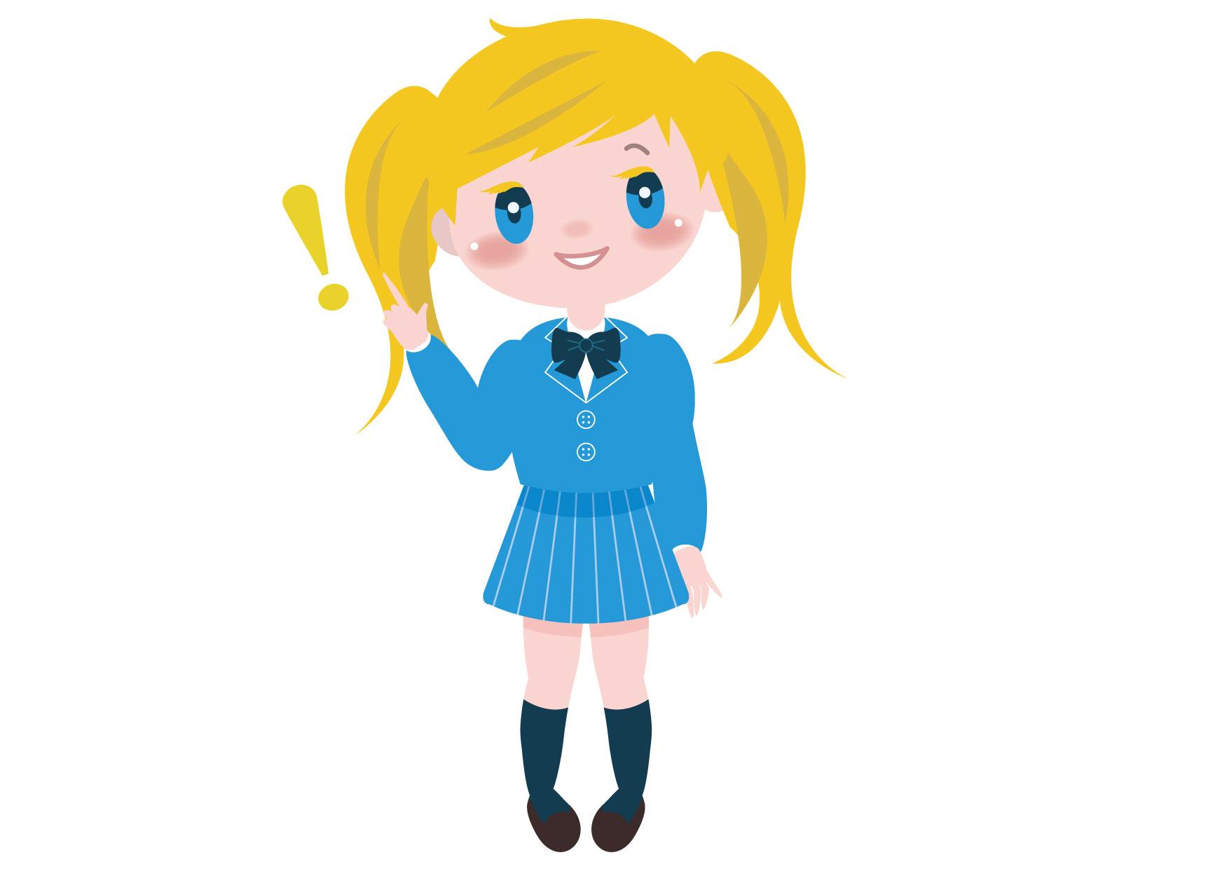 学生 女の子 全身 外国人 ポイント イラスト 無料 | イラストダウンロード