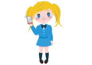 女の子 学生 外国人 携帯 イラスト 無料