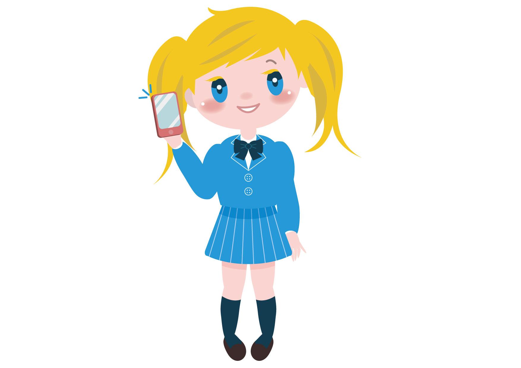 学生 女の子 全身 外国人 スマートフォン イラスト 無料 | イラスト