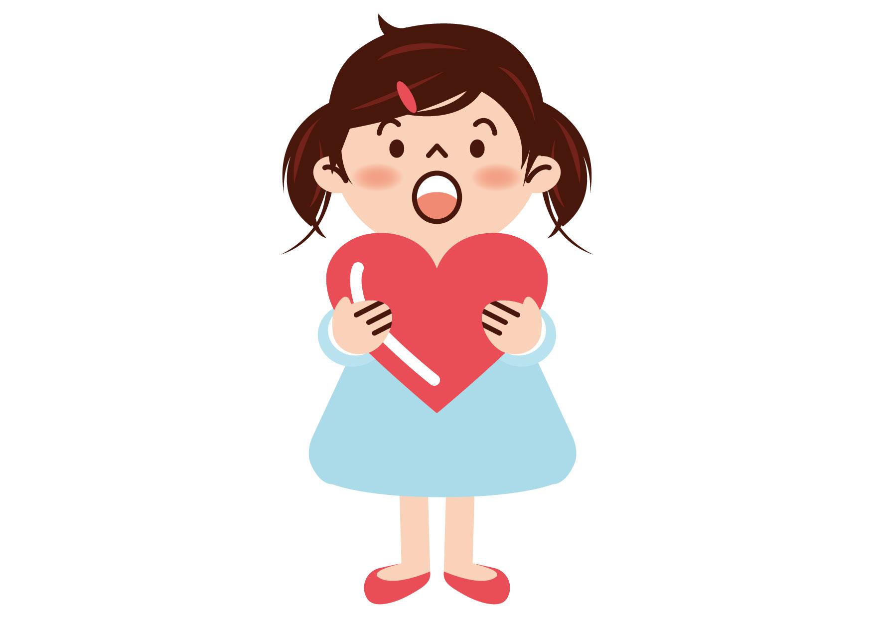 可愛いイラスト無料|女の子 ハート − free illustration Girl heart
