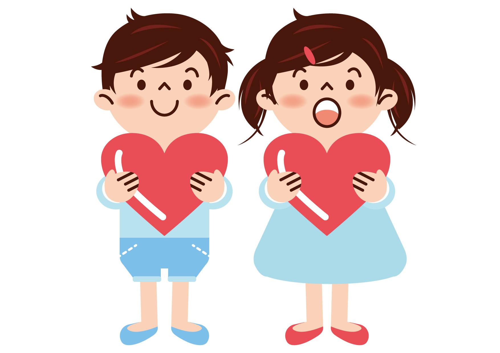可愛いイラスト無料|女の子 男の子 ハート − free illustration Girl boy heart