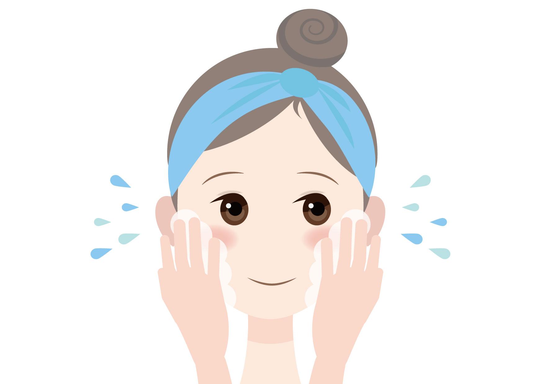 可愛いイラスト無料|女性 洗顔 − free illustration Female face wash
