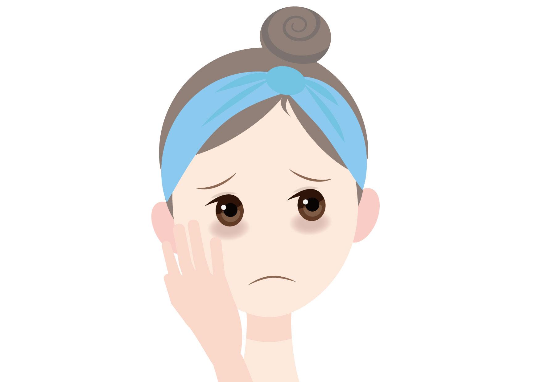 可愛いイラスト無料|女性 顔 目の下のくま(クマ) − free illustration Female face tired