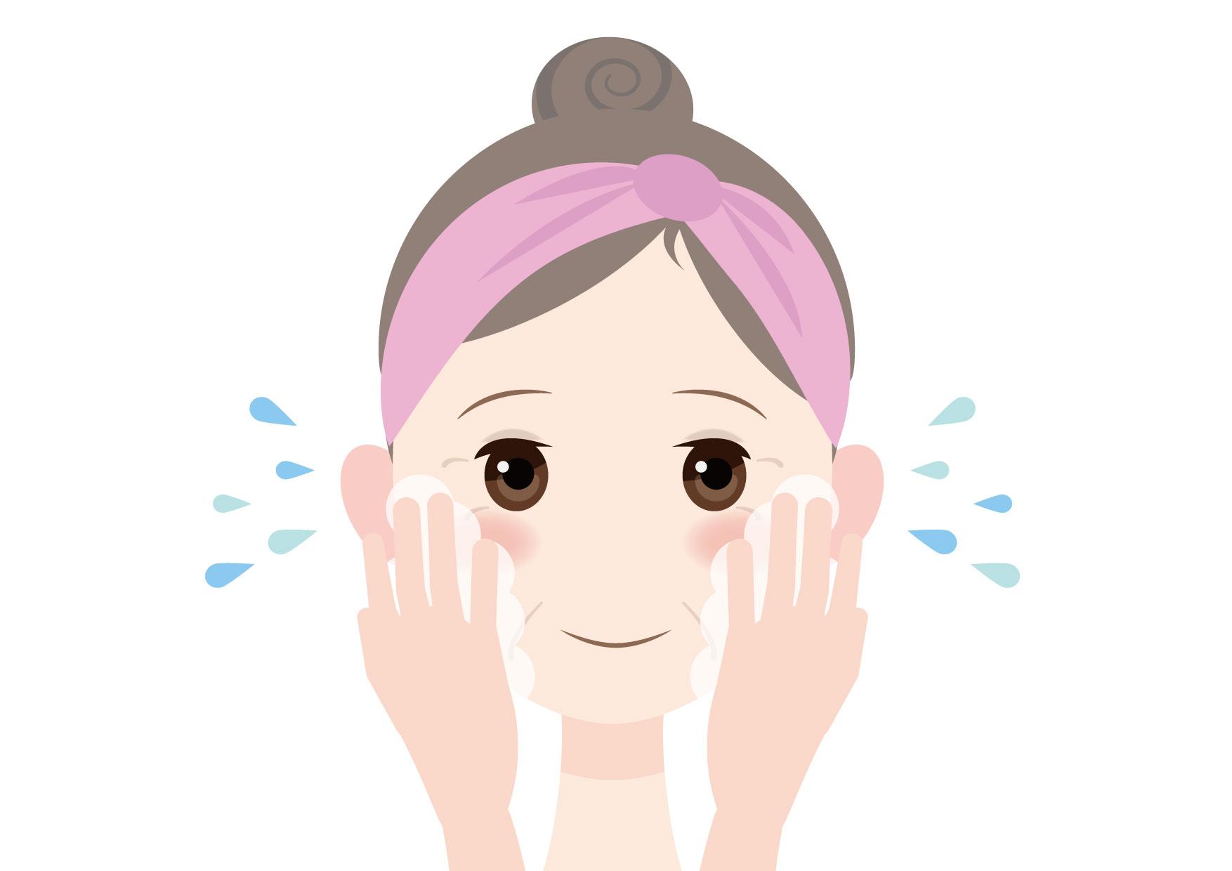 可愛いイラスト無料|女性 顔 洗顔 40代 50代 − free illustration Female face washing face 40s 50s