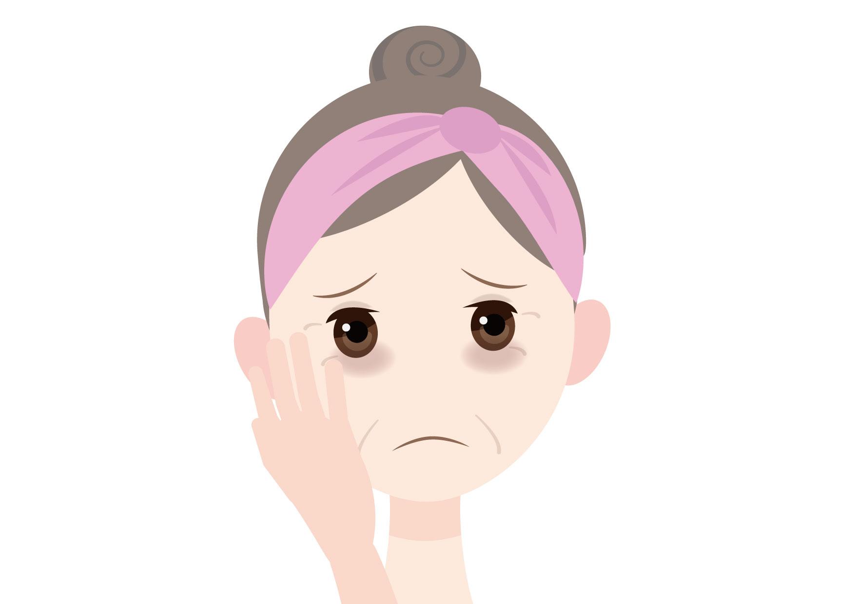 可愛いイラスト無料|女性 顔 目の下のくま(クマ) 40代 50代 − free illustration Female face tired 40s 50s