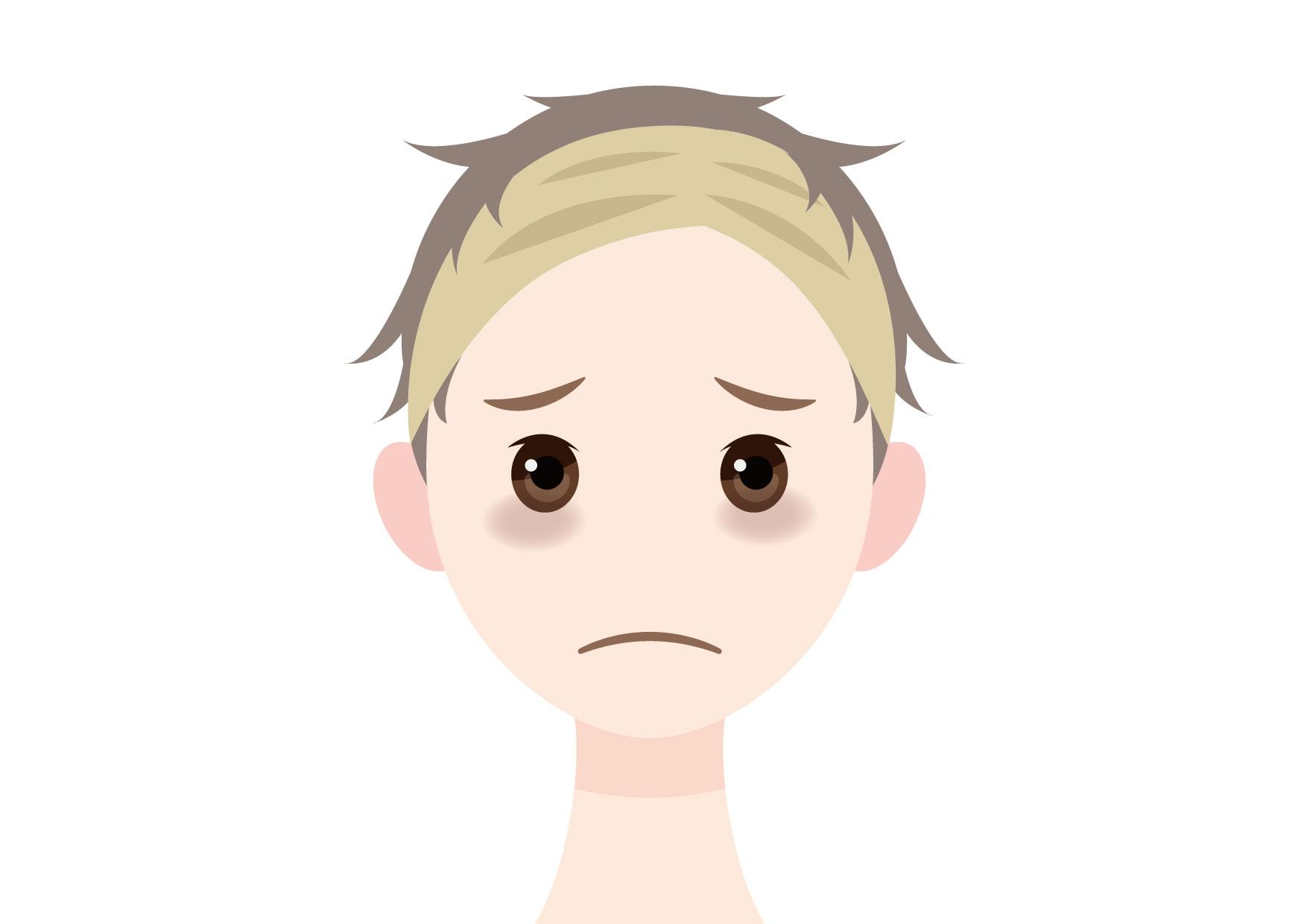 可愛いイラスト無料|男性 顔 目の下のくま(クマ) − free illustration Male face tired