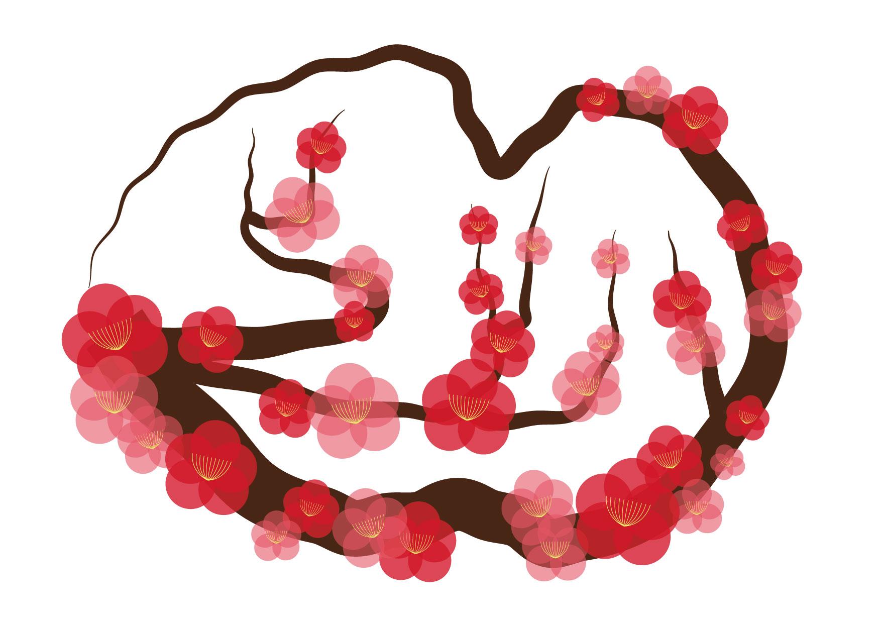 可愛いイラスト無料|梅の花 枝 − free illustration Plum blossom branch