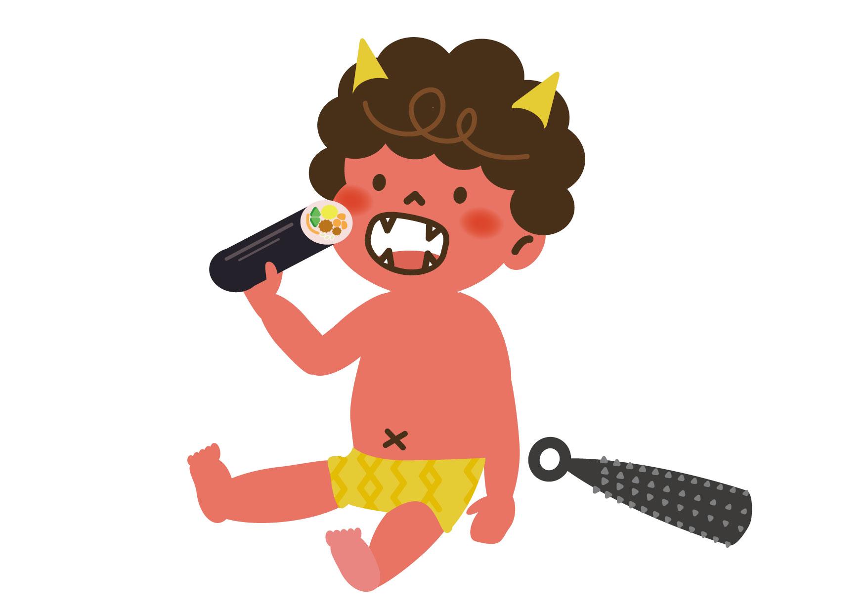 可愛いイラスト無料|節分 可愛い 赤鬼 恵方巻き − free illustration Setsubun cute red demon Ehomaki