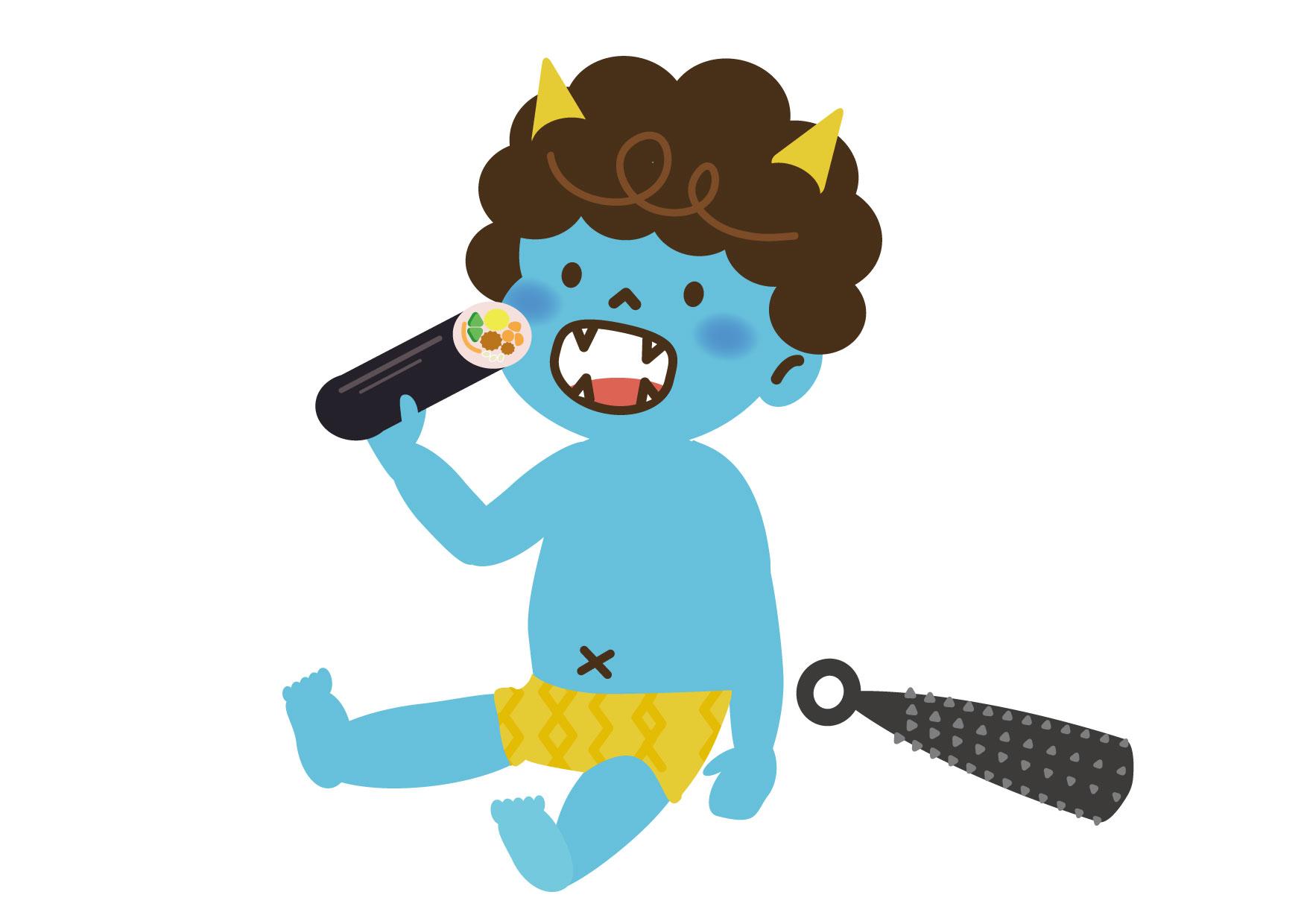 可愛いイラスト無料|節分 可愛い 青鬼 恵方巻き − free illustration Setsubun cute blue demon Ehomaki