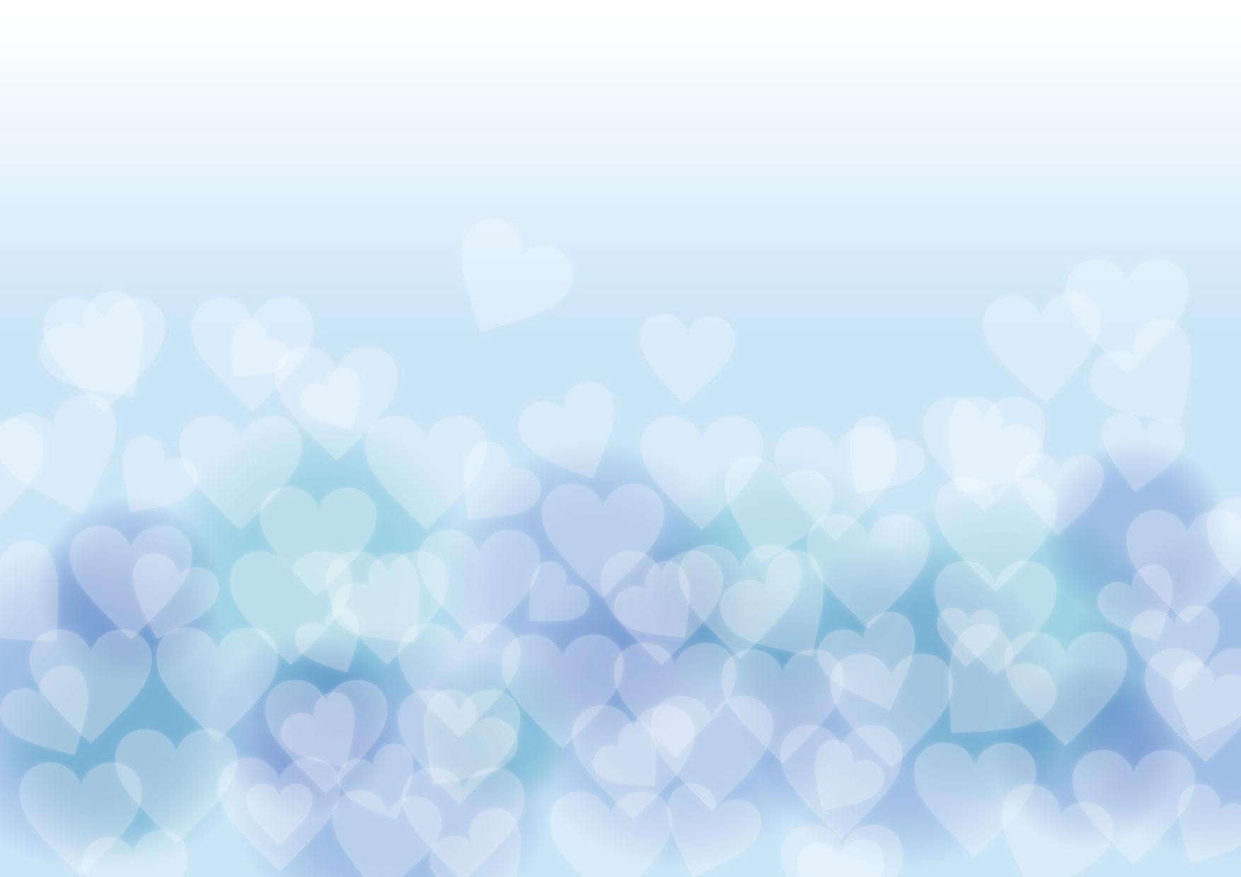 バレンタイン 背景 やわらか ブルー ハート イラスト 無料