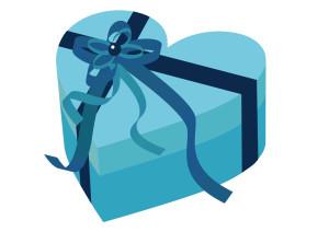 ハート バレンタイン プレゼント リボン 青 イラスト 無料