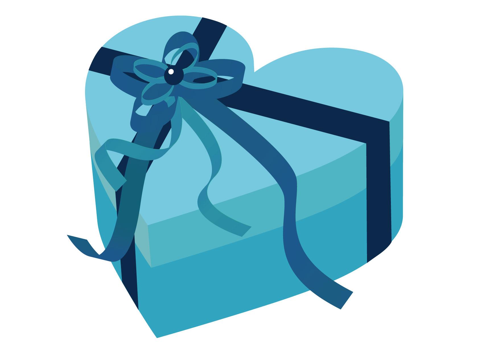 可愛いイラスト無料|バレンタイン ハート ブルー 箱 − free illustration Valentine Heart Blue Box