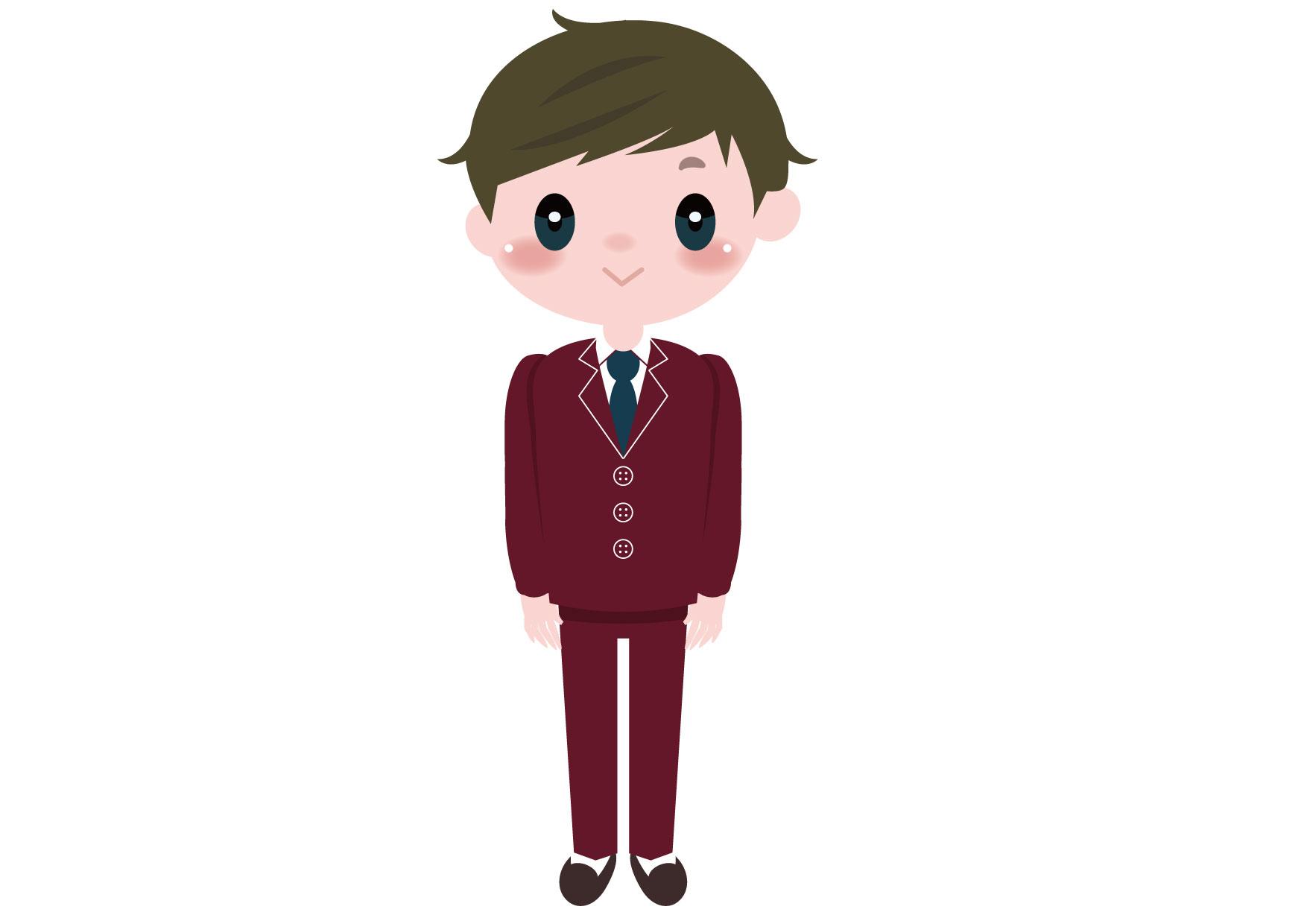可愛いイラスト無料|学生 男の子 全身 − free illustration Student boy whole body