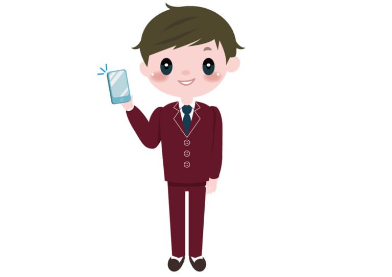 学生 男子 携帯電話 イラスト 無料