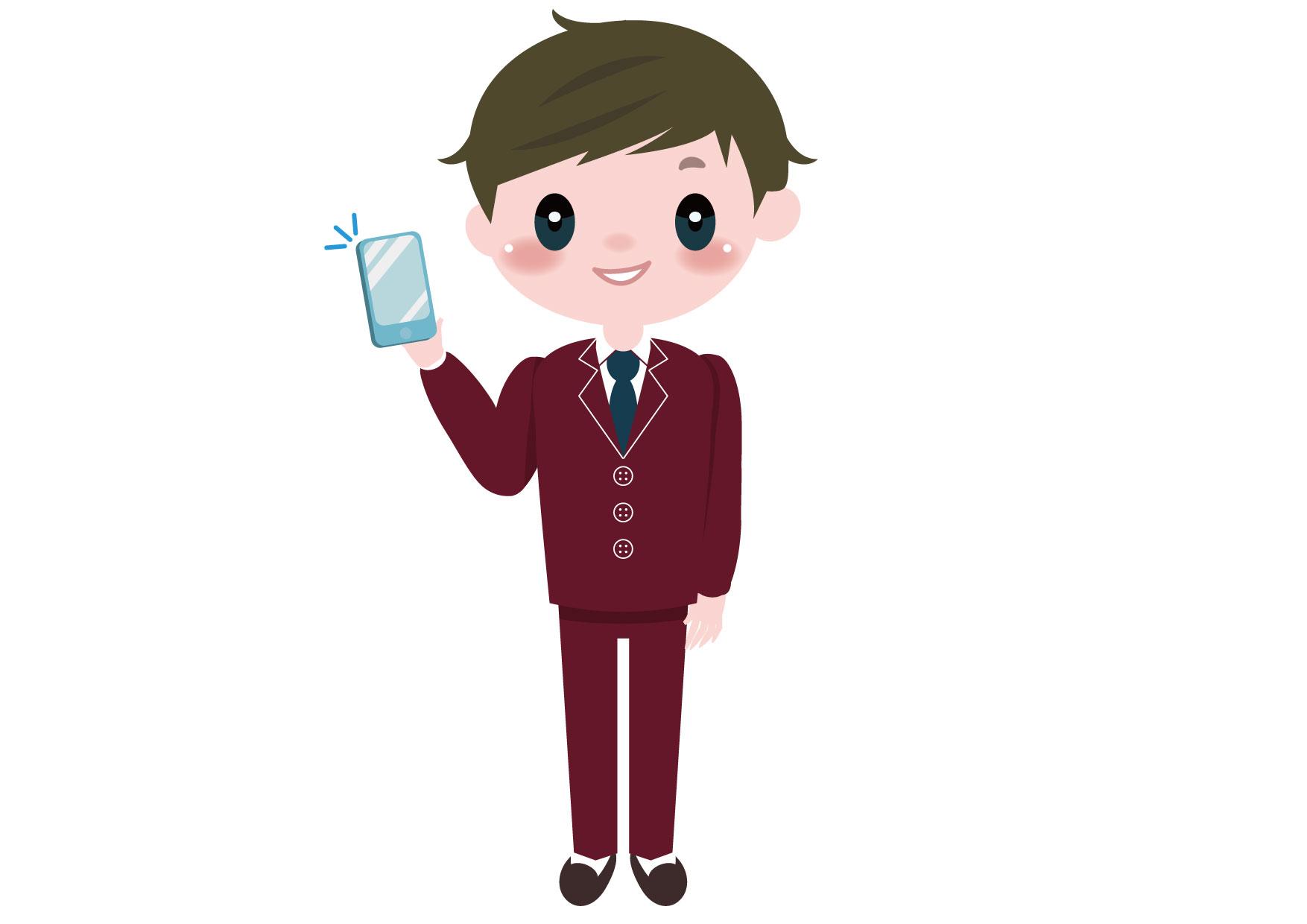 学生 男の子 全身 スマートフォン イラスト 無料