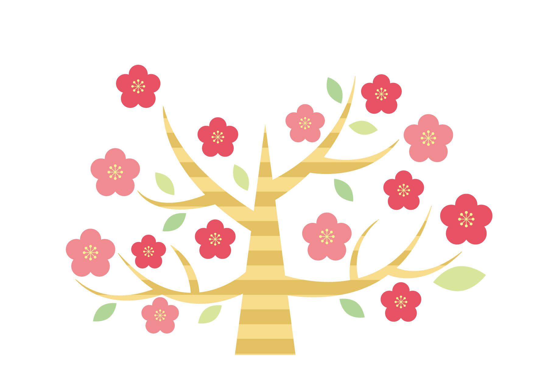 梅の木 デフォルメ イラスト 無料 | イラストダウンロード