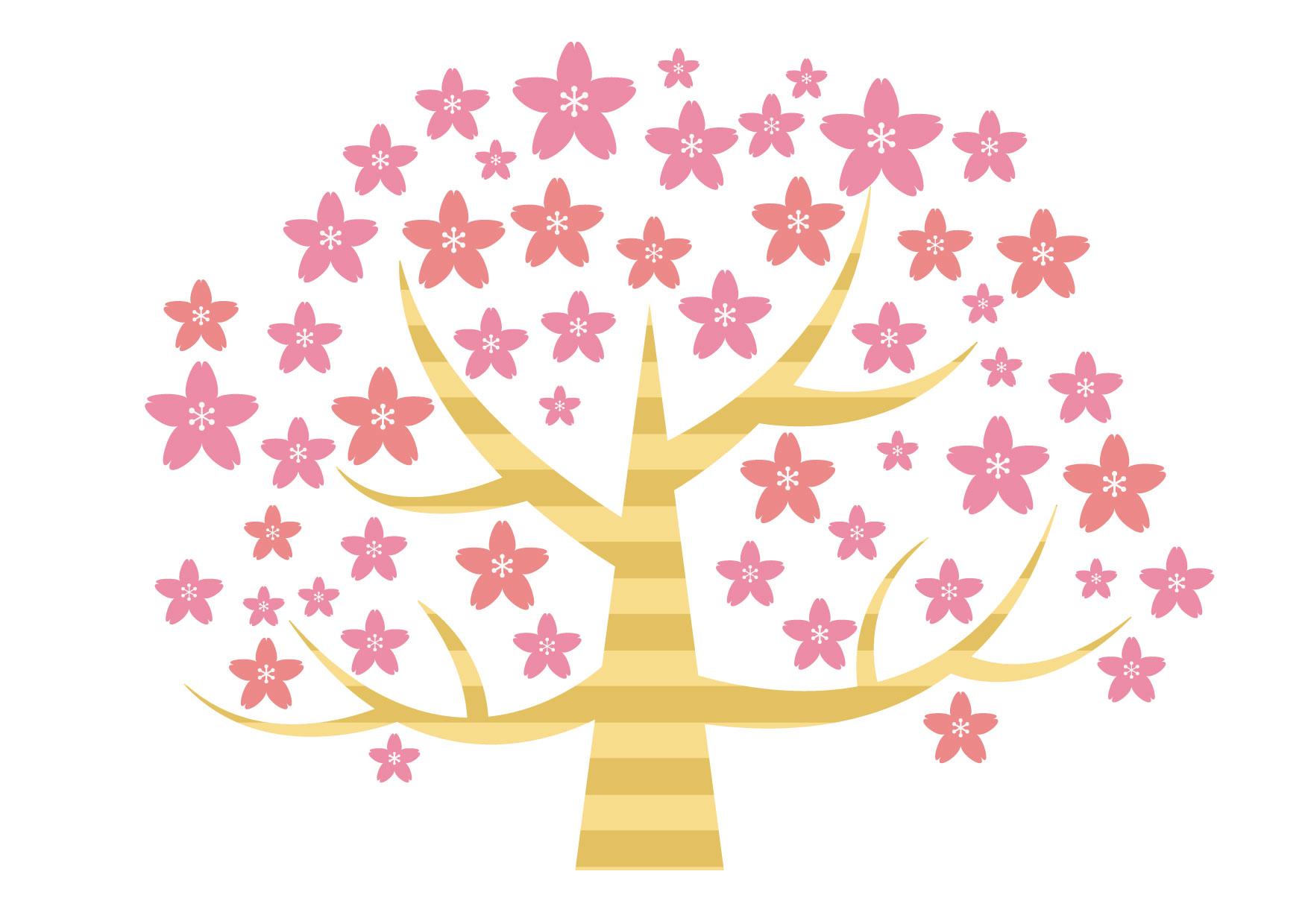 可愛いイラスト無料|桜の木 デフォルメ − free illustration Cherry Blossoms wood