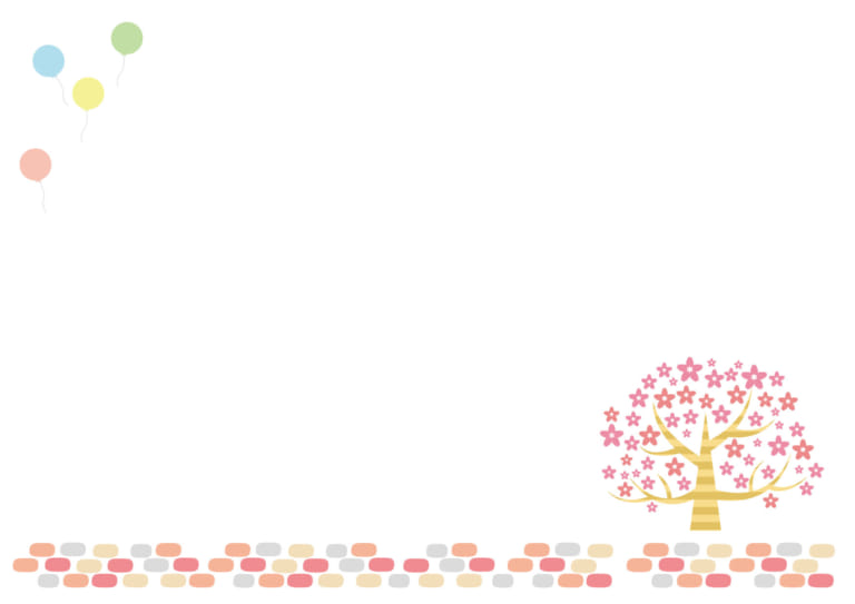 背景 桜 石畳み 風船 イラスト 無料