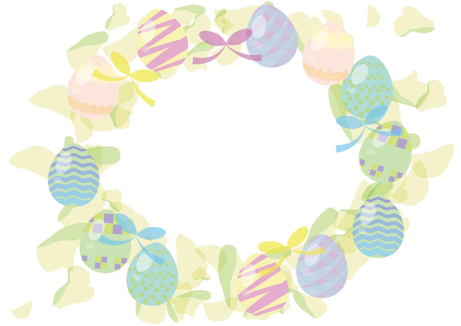 可愛いイラスト無料|イースターエッグ リース グリーン − free illustration Easter egg wreath green