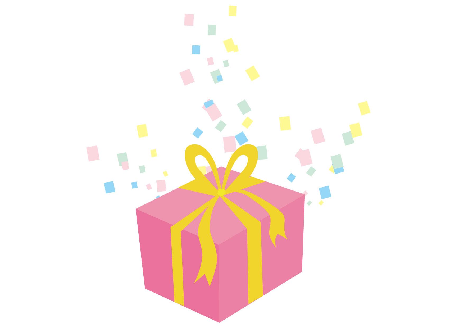 可愛いイラスト無料|プレゼント ピンク 紙吹雪 − free illustration Present pink confetti