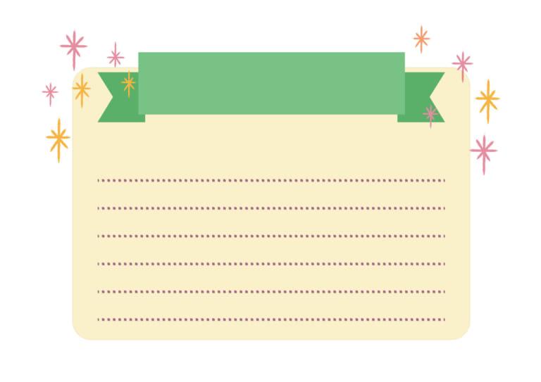 ノート リボン キラキラ 緑 イラスト 無料