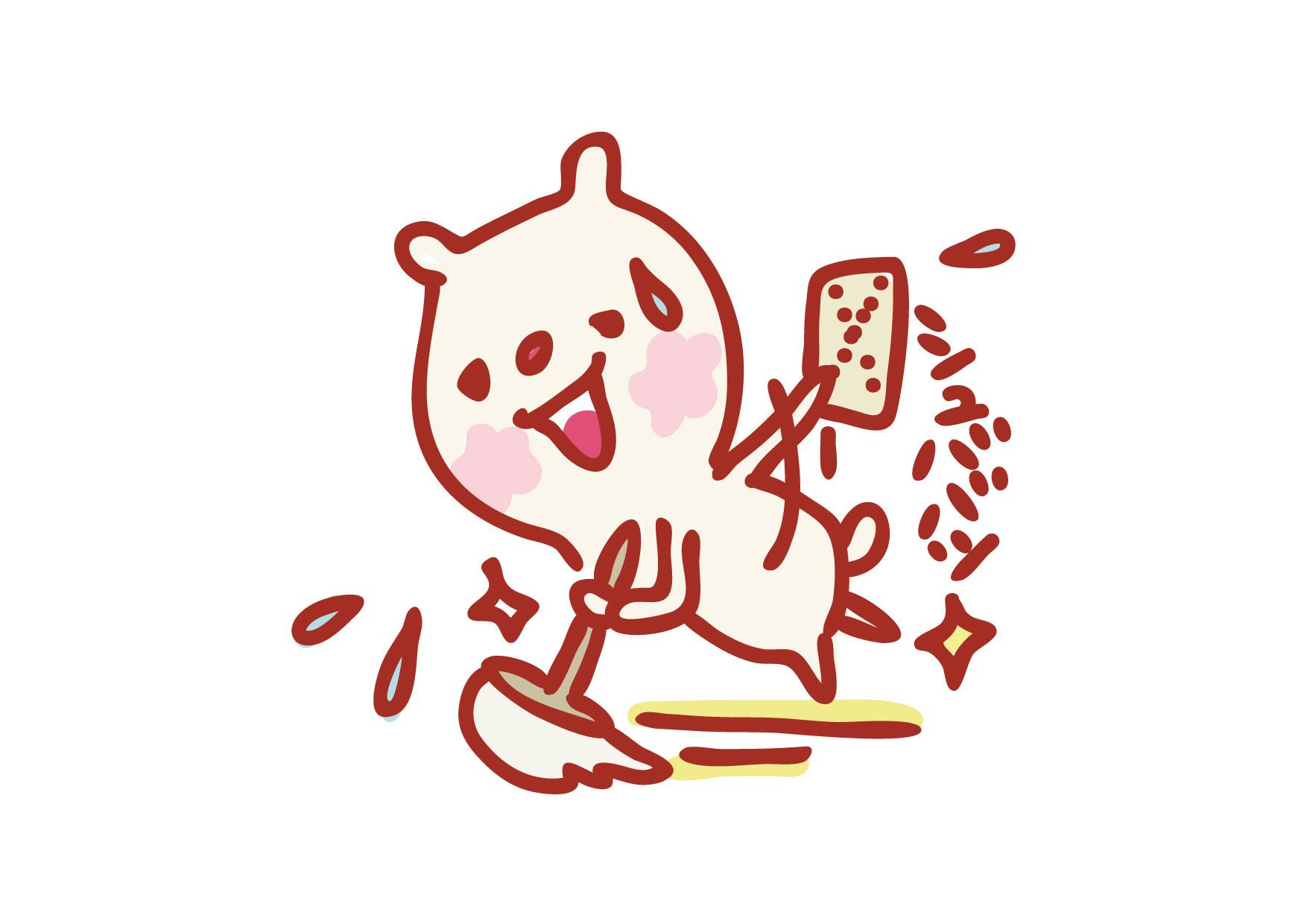 可愛いイラスト無料|クマ 掃除 − free illustration Bear cleaning