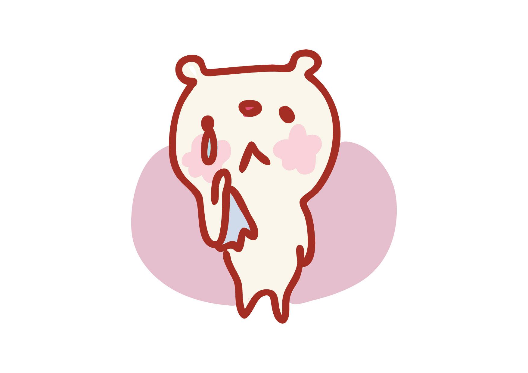 可愛いイラスト無料|クマ 泣いている − free illustration Bear crying