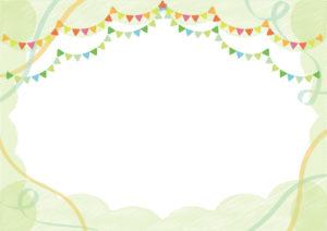 背景 フラッグ リボン 落書き 緑 イラスト 無料