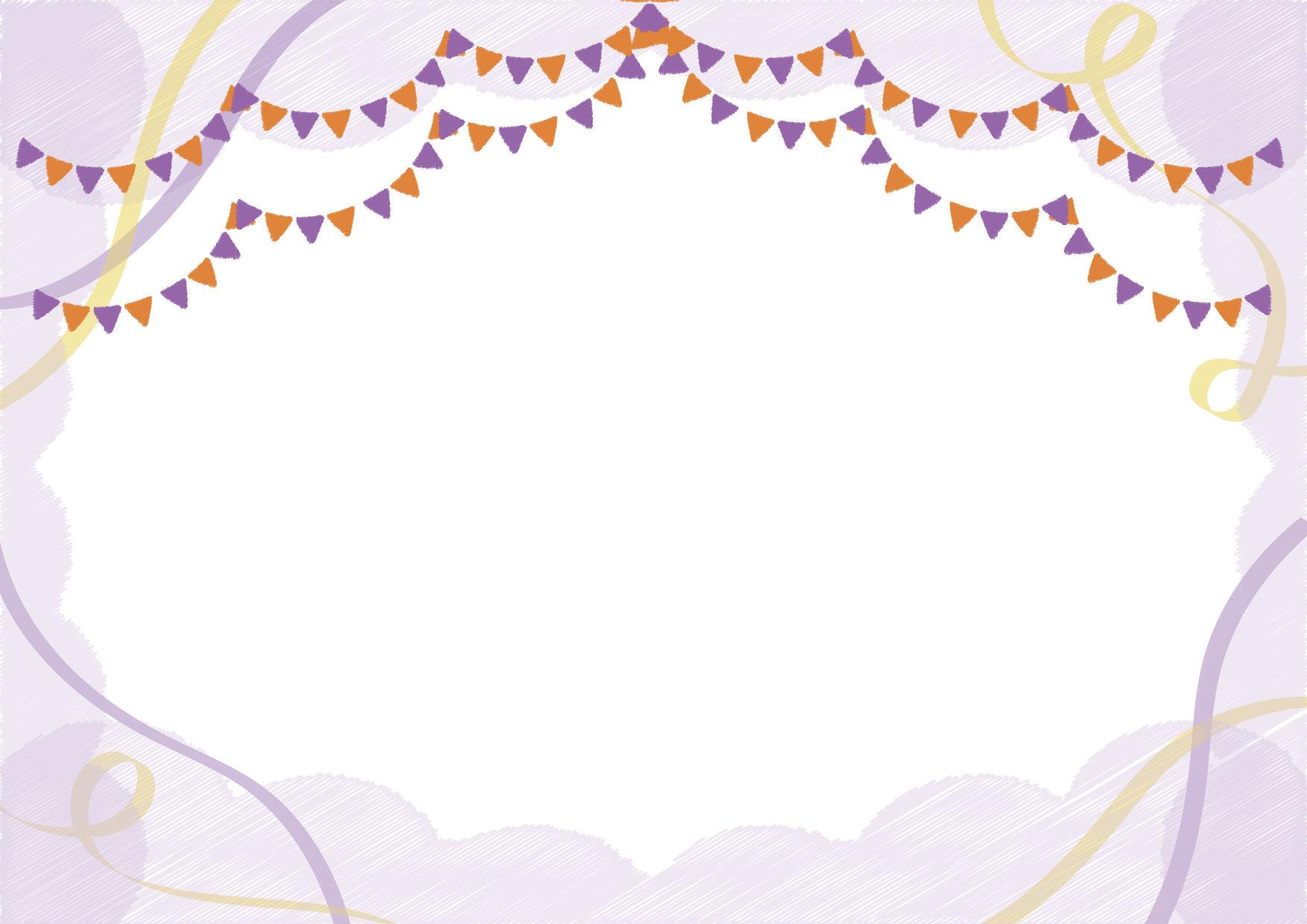可愛いイラスト無料|フラッグ リボン ハロウィン 背景 − free illustration Flag Ribbon Halloween Background