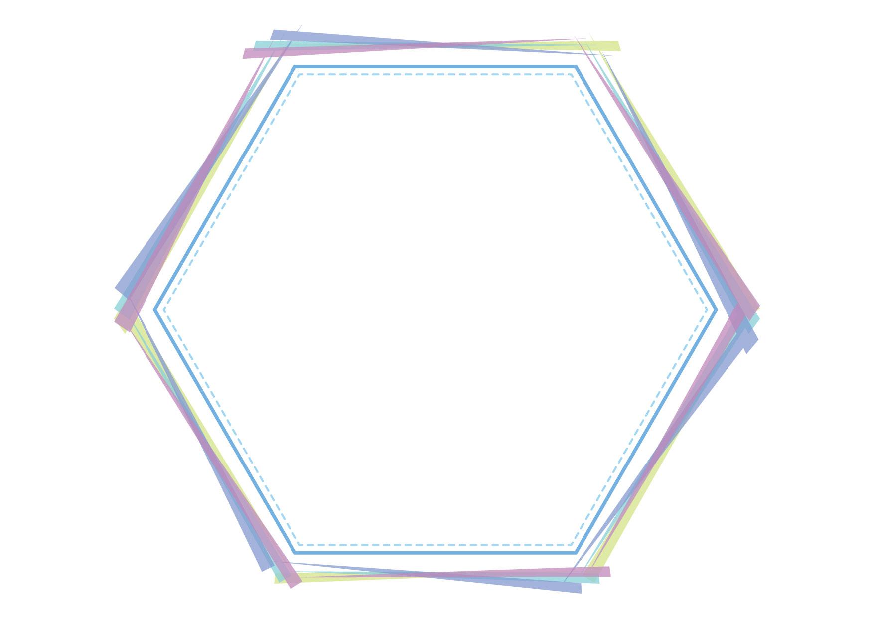 可愛いイラスト無料|フレーム 六角形 ブルー 背景 − free illustration Frame hexagon blue background
