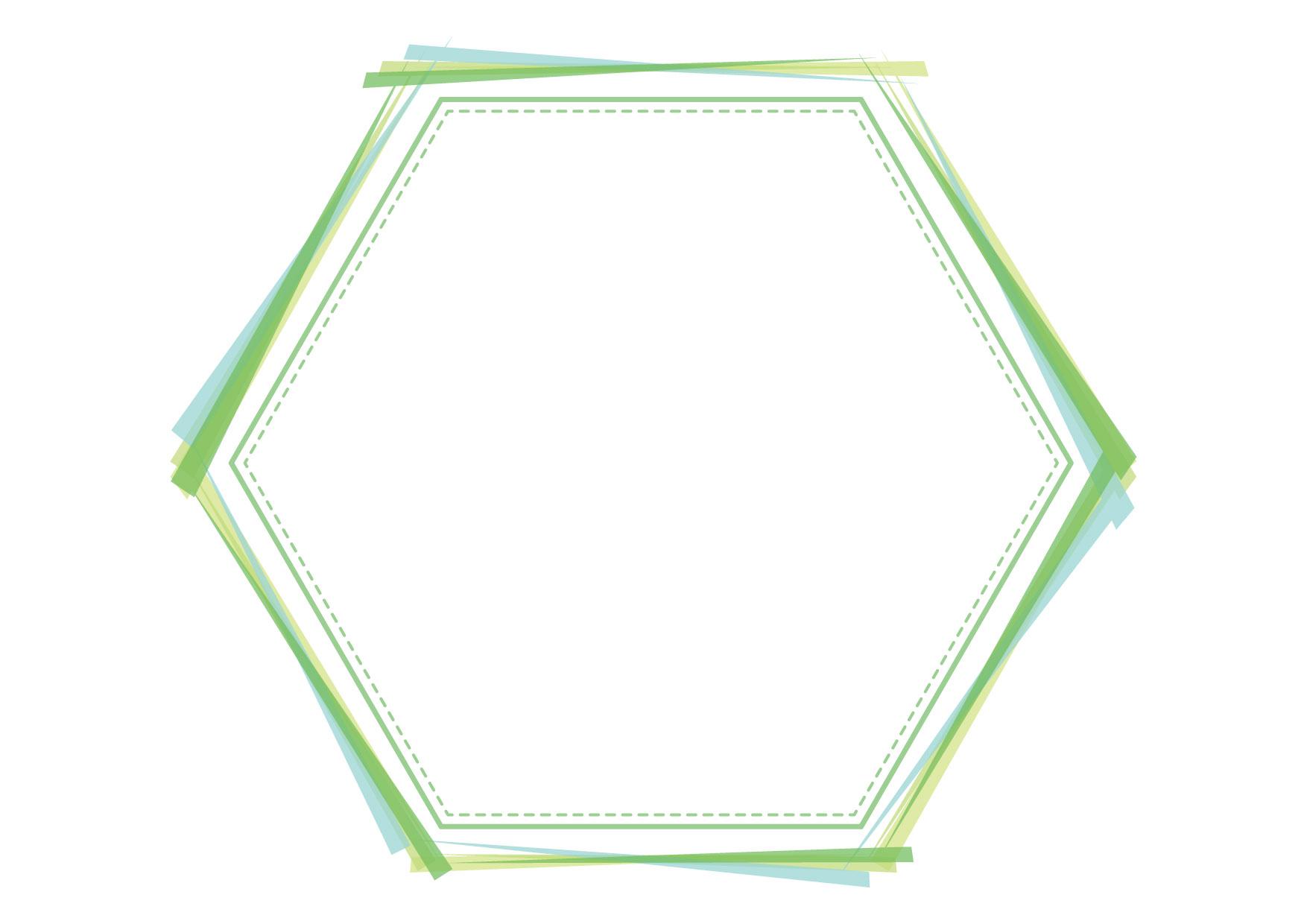 可愛いイラスト無料|フレーム 六角形 グリーン 背景 − free illustration Frame hexagon green background